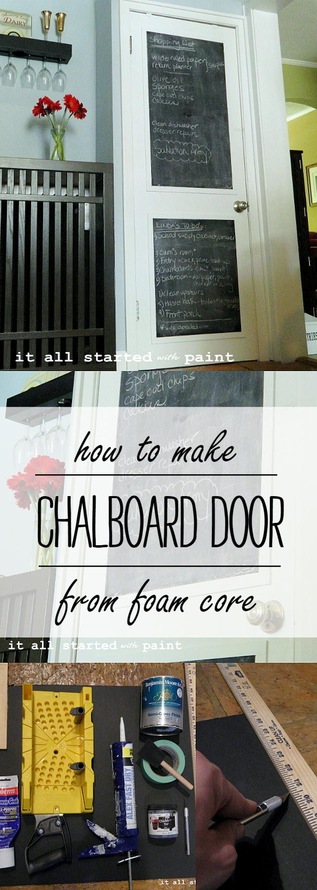 Chalkboard Door DIY From Foam Core Board and Chalkboard Paint