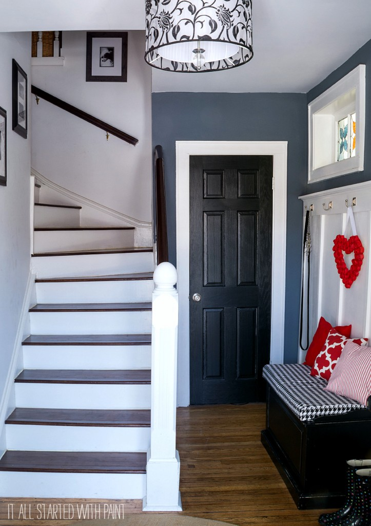 dark stairs with white risers