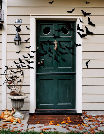 Bats Flying Across Front Door for Halloween