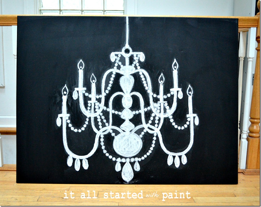 chalk-art-chandelier-drawn-by-hand-on-canvas