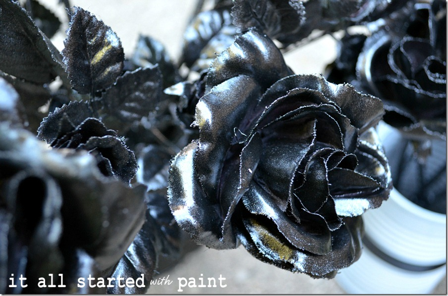 faux-silk-roses-spray-painted-black-for-halloween