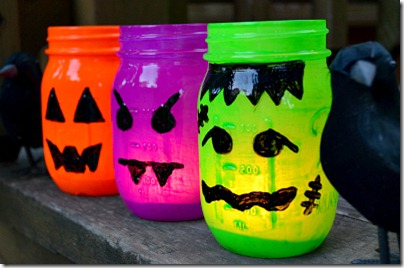 Mason Jar Fall Crafts Halloween Votives