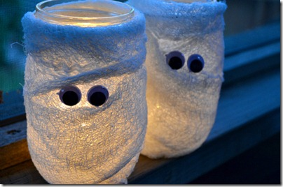 mason jar mummy votives mason jar fall crafts - Halloween Mummy Crafts