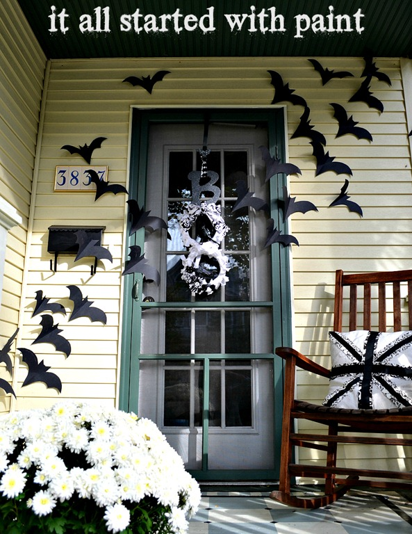 bats flying across door halloween decoration - Halloween Front Doors