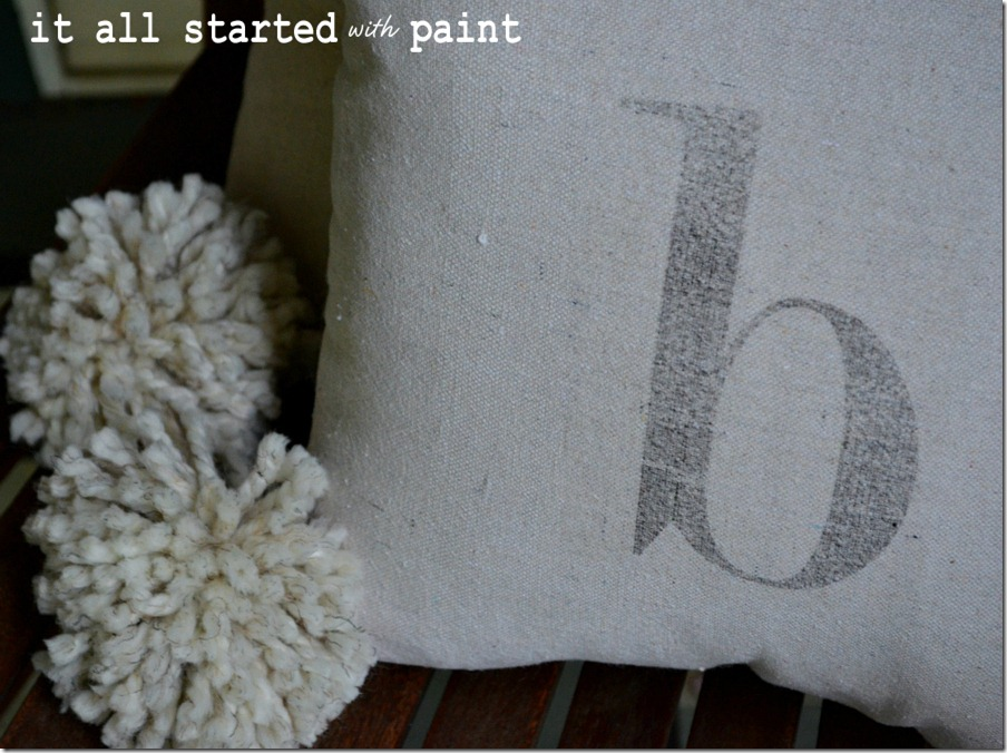 monogram_pom_pillow_made_from_drop_cloth