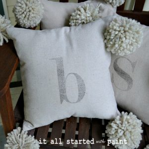 monogram pom pom pillow & a note of thanks