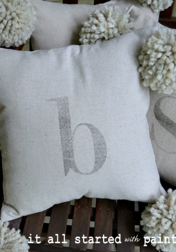 monogram pom pom pillow & a note of thanks