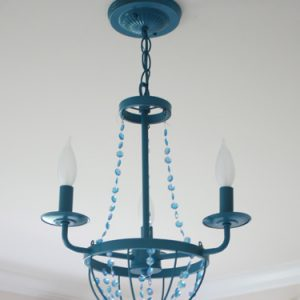 view along the way spray painted chandelier