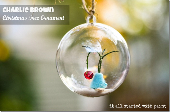 Charlie Brown christmas Tree Ornament with signage