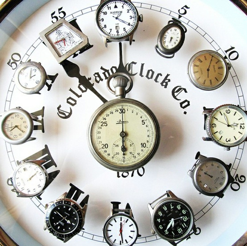 Inspirational clock for wall made from old wrist watches