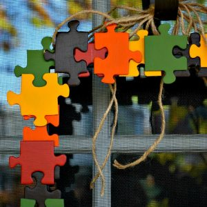 puzzle piece fall wreath
