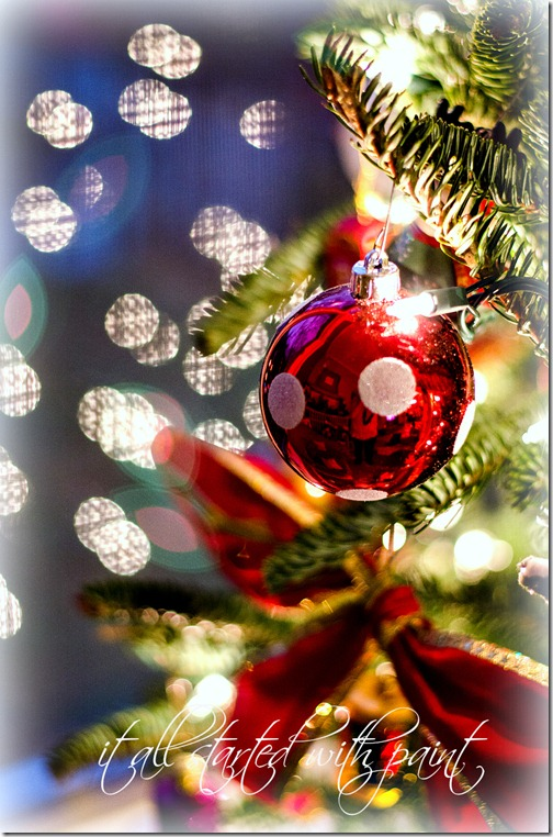 Christmas Tree with Red polka dot ornament
