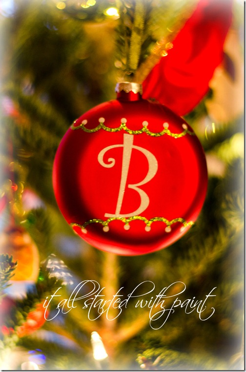 Christmas Tree with monogram ornament