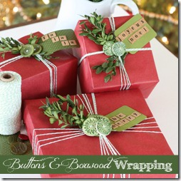 Holiday gift wrap boxwood and button finding home