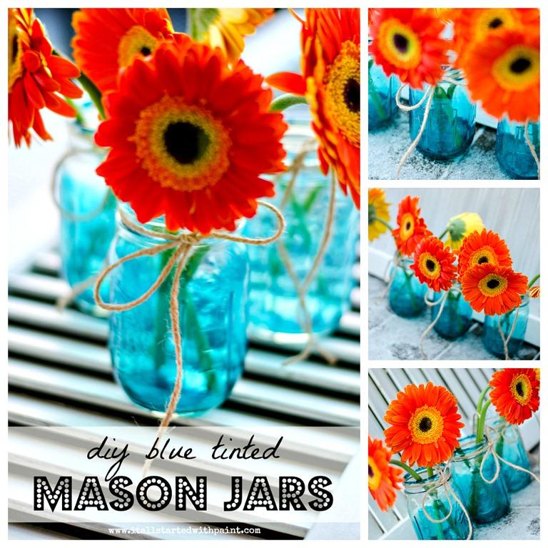 Blue Mason Jars Vintage Look