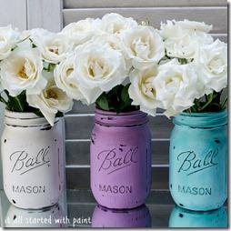 mason jars: painted & distressed