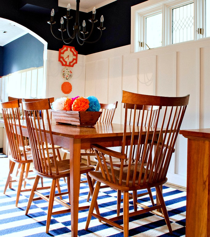 I Would Like To Make My Living Room Dining Room: Board And Batten Dining Room: Navy And White Walls