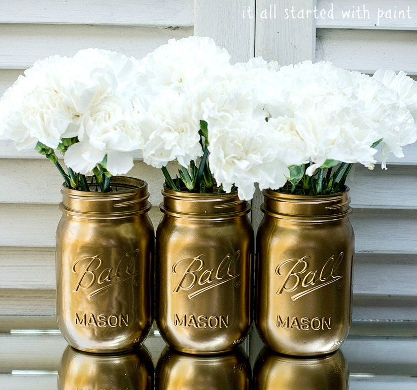 gold painted mason jar metallic. Black Bedroom Furniture Sets. Home Design Ideas