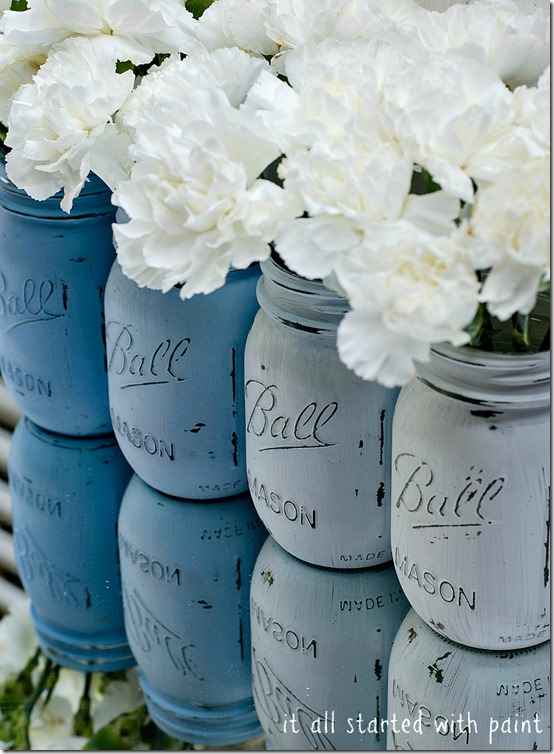Mason Jar Crafts - Blue Ombre Mason Jars