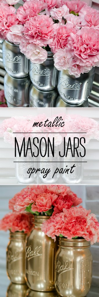 Spray Painted Mason Jars in Silver & Gold