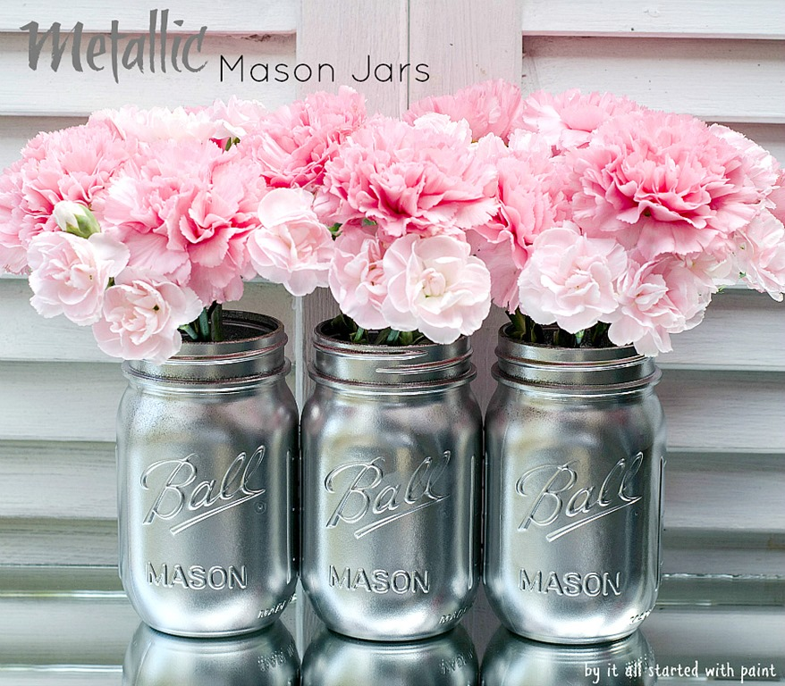 Spray painted mason jars for How to make silver paint