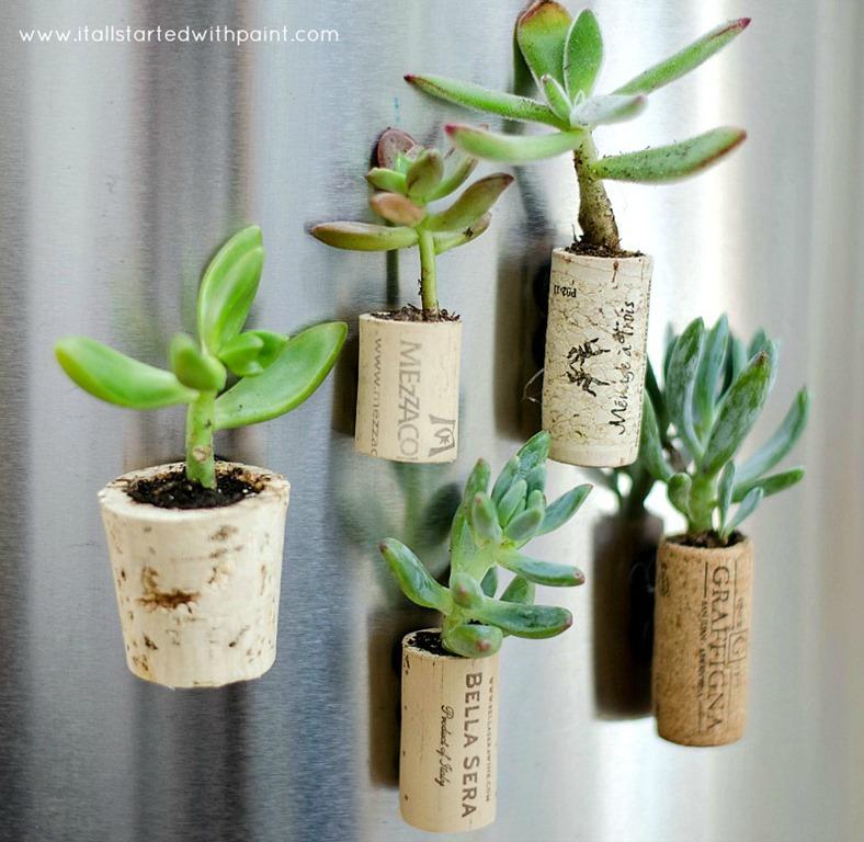 wine cork magnet planters