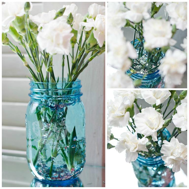 blue-mason-jar-white-flowers  sc 1 st  It All Started With Paint & Mason Jar Vase