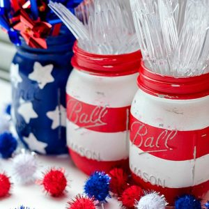 red, white & blue mason jars