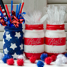 american flag painted mason jar