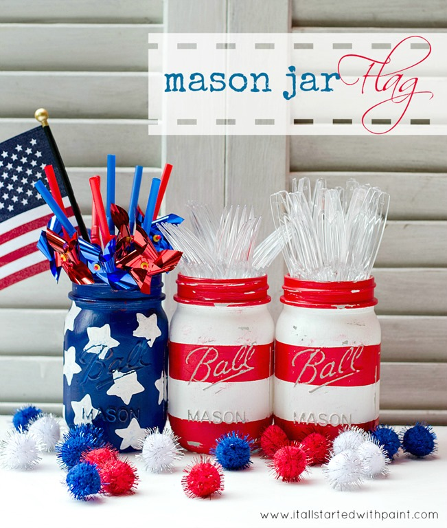 Red, white, blue mason jars