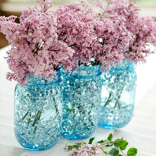Mason Jar Craft Ideas - Blue Mason Jars