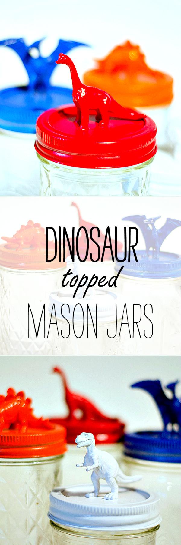 Dinosaur Topped Mason Jars