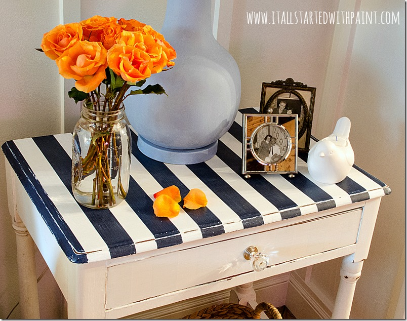 how to paint stripes on table tops