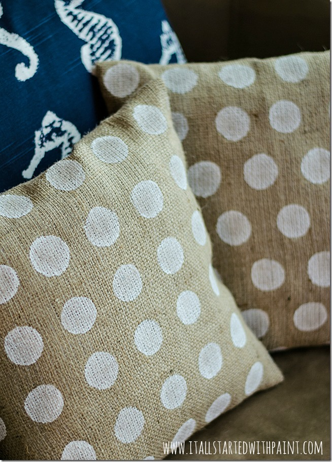 Burlap-Pillow-Painted-Polka-Dot-How-To-Make 1 watermarked