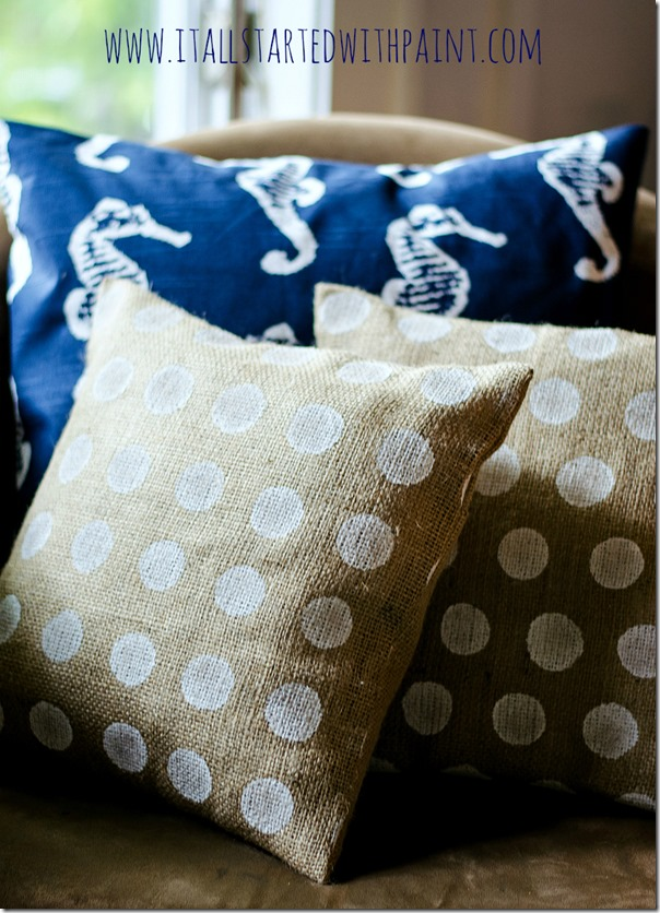 Burlap-Pillow-Painted-Polka-Dot-How-To-Make-4 watermarked