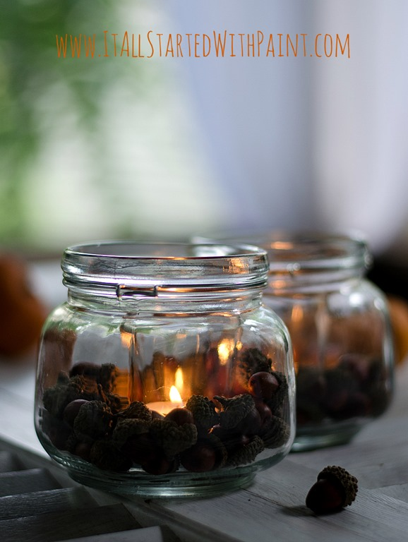 Mason Jar Votive with Acorns