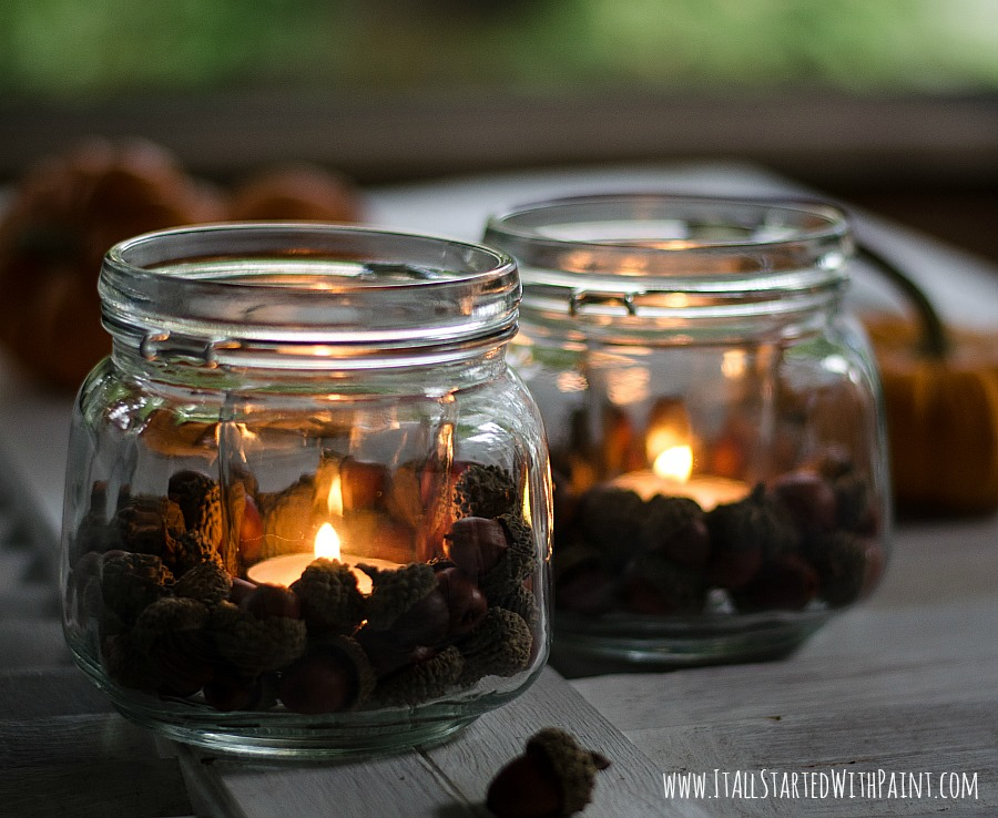 Acorn Mason Jar Votives - It All Started With Paint