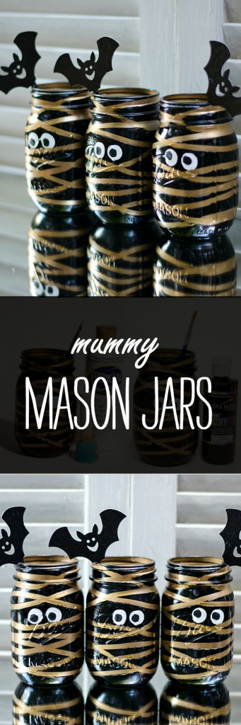 Halloween Craft Idea with Mason Jars: Mummy Mason Jar