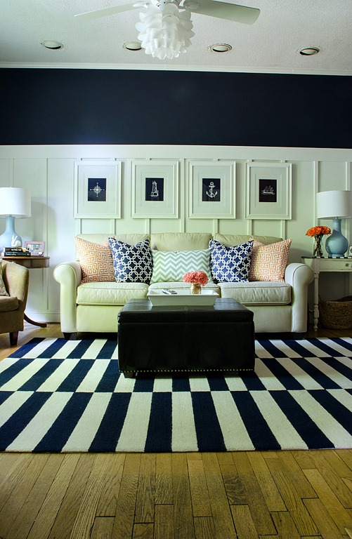 outstanding navy white living room | Navy and White Board & Batten Living Room Design