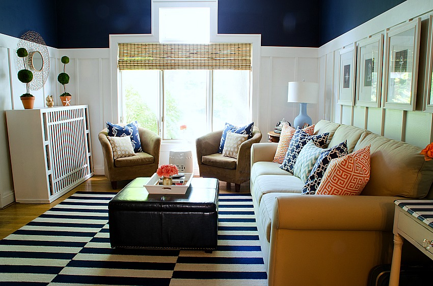 navy white living room 23 Navy and White Board  Batten Living Room Design