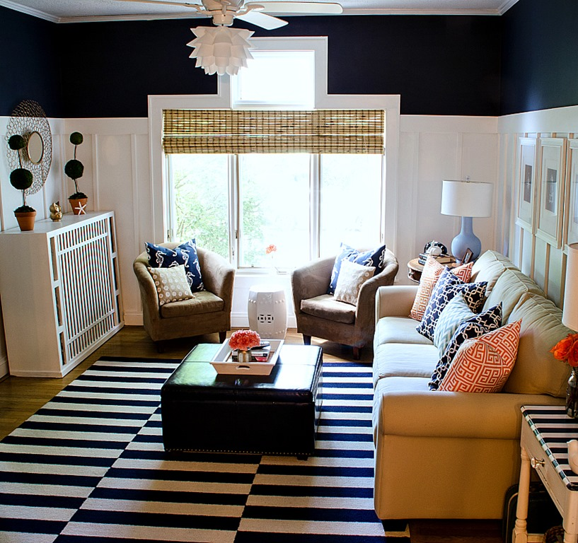 Navy and white board batten living room design - White walls living room ...