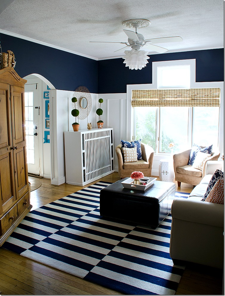 navy white living room 2 Navy and White Board  Batten Living Room Design