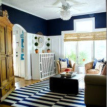 navy white board and batten living room