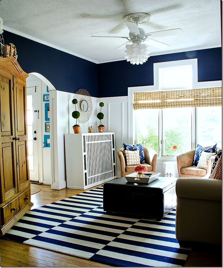 Navy and white board batten living room design for Living room navy walls