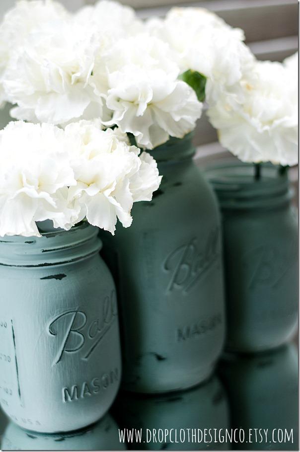 painted-distressed-mason-jar-Annie-Sloan-Duck-Egg-Blue-4