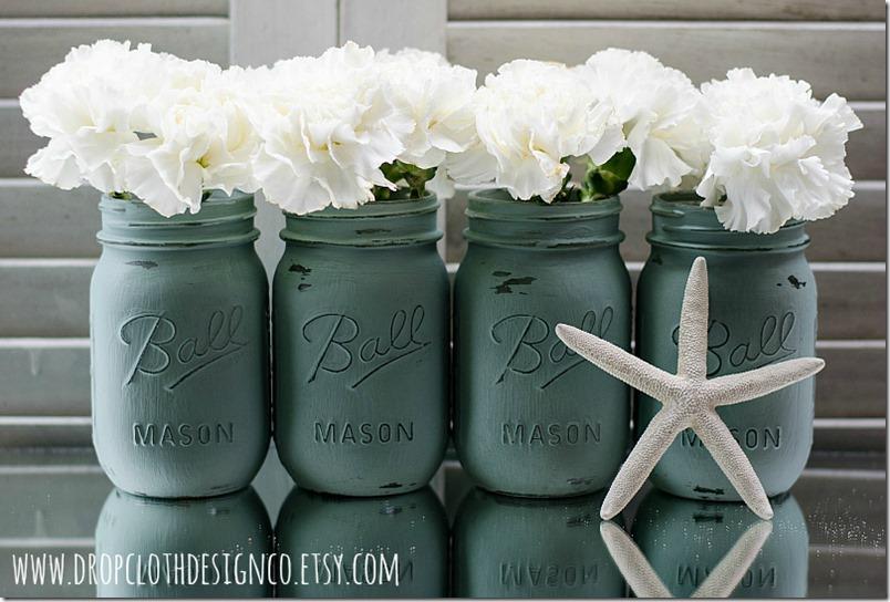 painted-mason-jars-annie-sloan-duck-egg-blue
