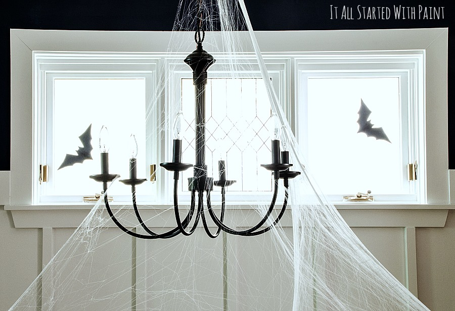 halloween decorations dining room spider web chandelier - Halloween Spider Web Decorations
