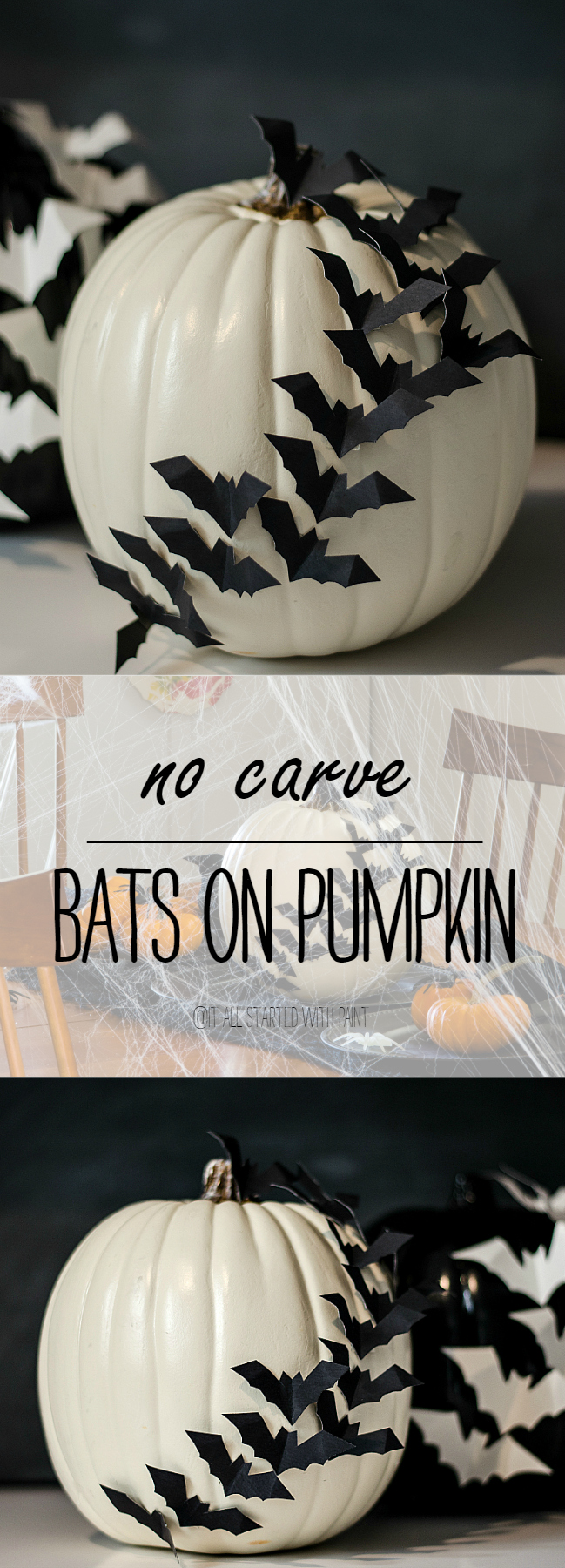 Pumpkin Ideas: Bats Flying Across Pumpkin No Carve Pumpkin Idea