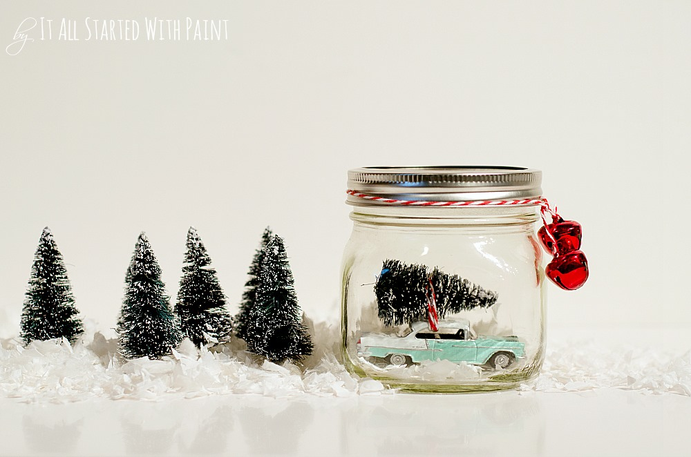 car with tree in mason jar christmas decoration