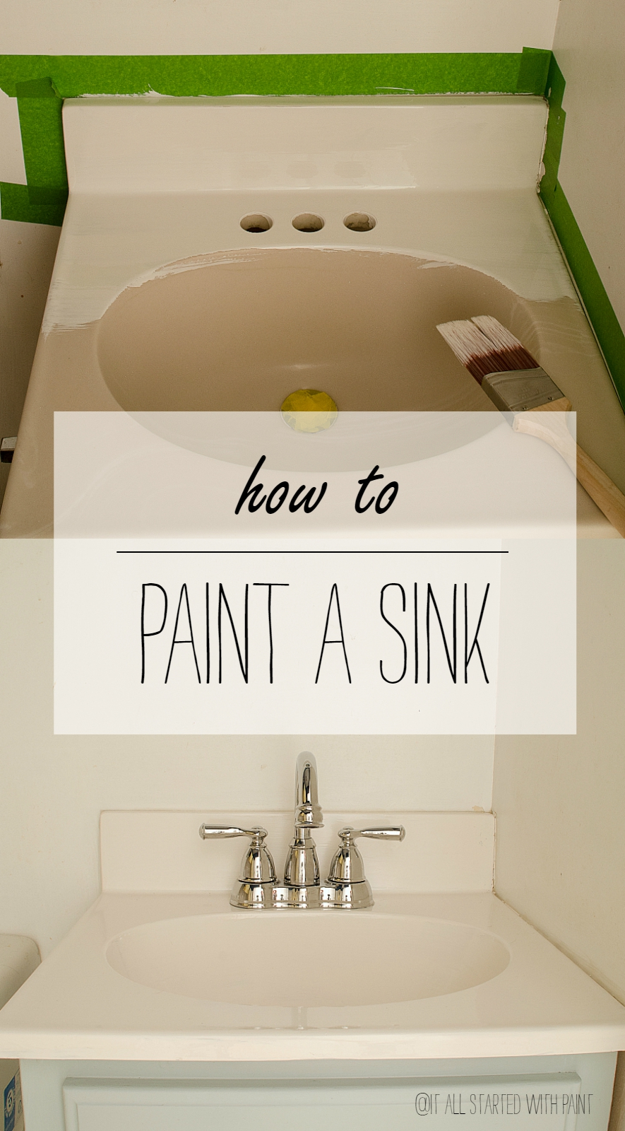 How To Paint A Sink - Painting bathroom vanity laminate
